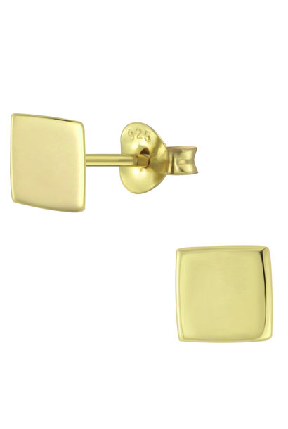 Delicate square stud earrings - 925 sterling silver - gold