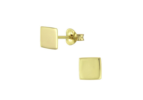 Luxaa Delicate square stud earrings - 925 sterling silver - gold