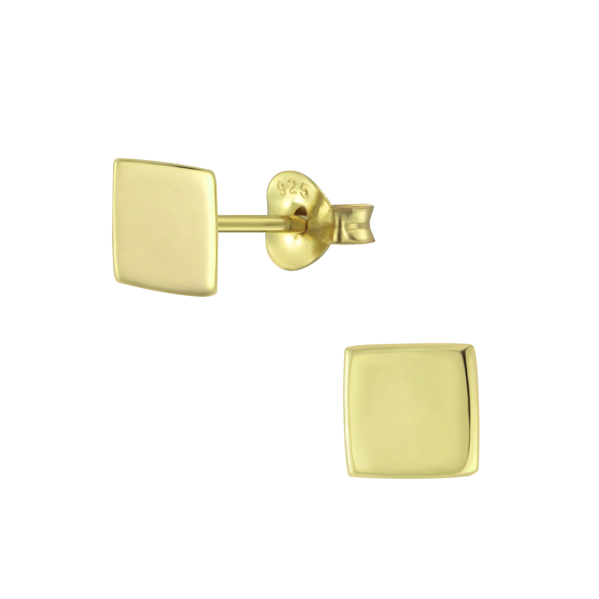 Delicate square stud earrings - 925 sterling silver - gold-1