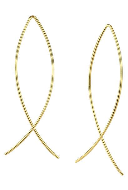 Puristischer Bügel Ohrring verschlungen aus 925er Sterling Silber - Gold