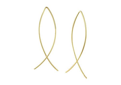Luxaa Puristischer Bügel Ohrring verschlungen aus 925er Sterling Silber - Gold