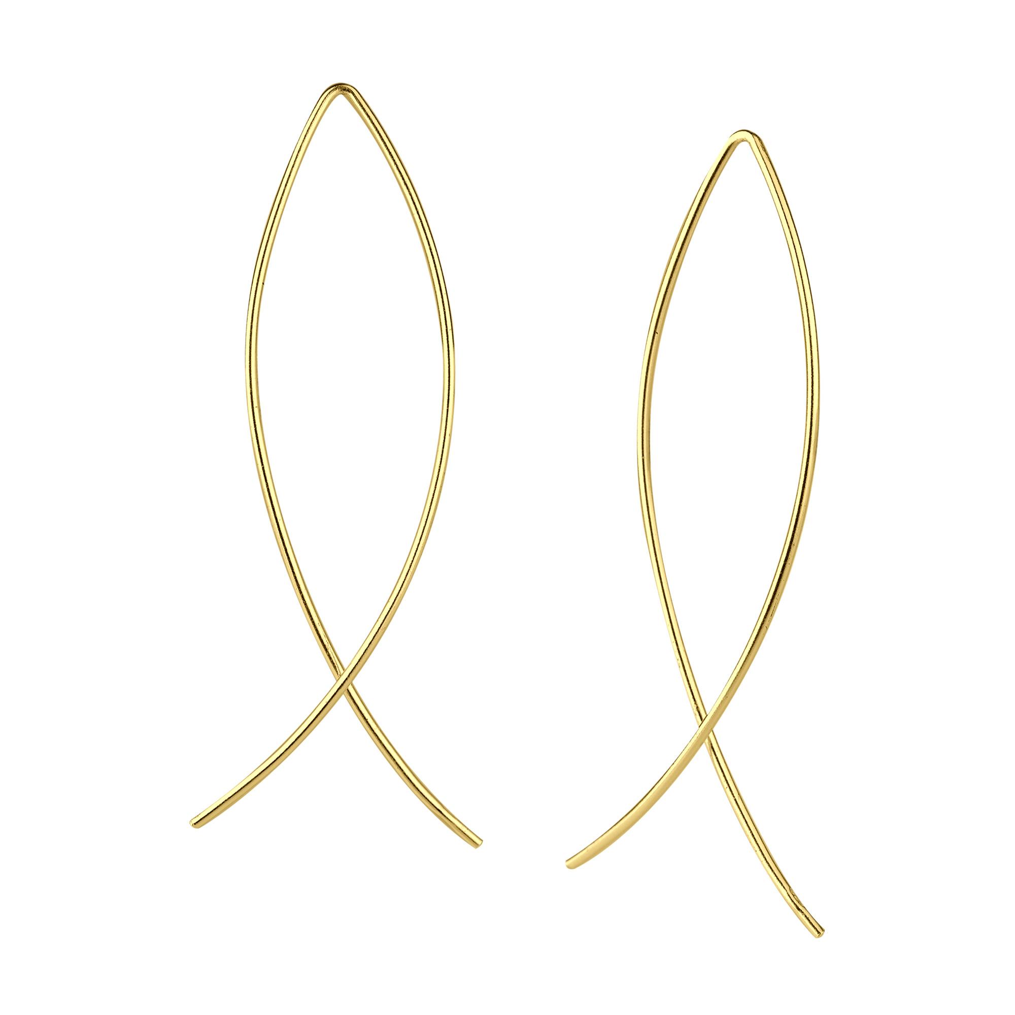 Puristischer Bügel Ohrring verschlungen aus 925er Sterling Silber - Gold-1