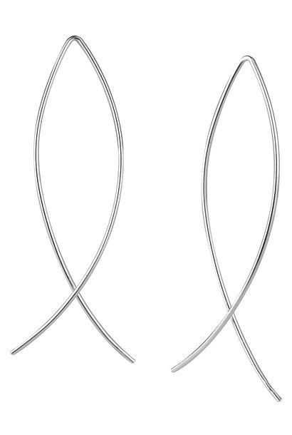 Puristischer Bügel Ohrring verschlungen aus 925er Sterling Silber