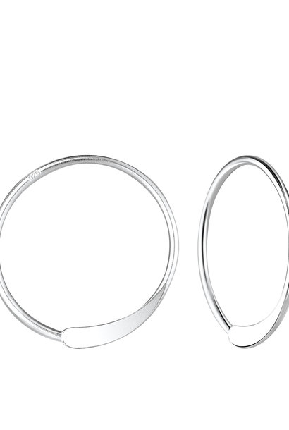 Small hoop earrings punched - 925 sterling silver