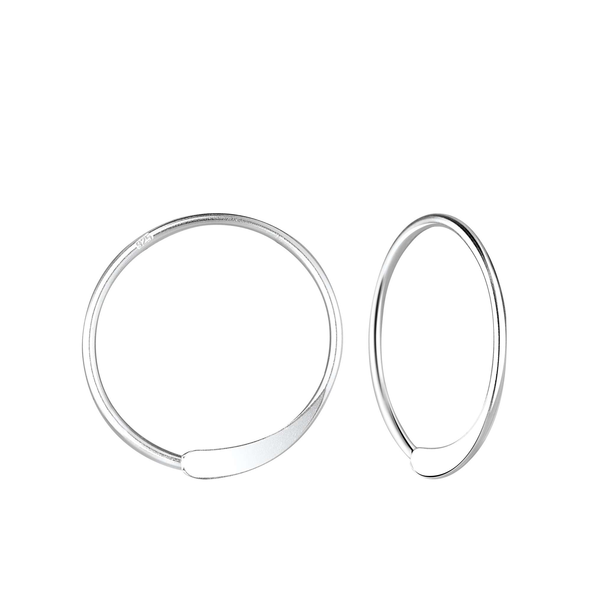 Small hoop earrings punched - 925 sterling silver-1