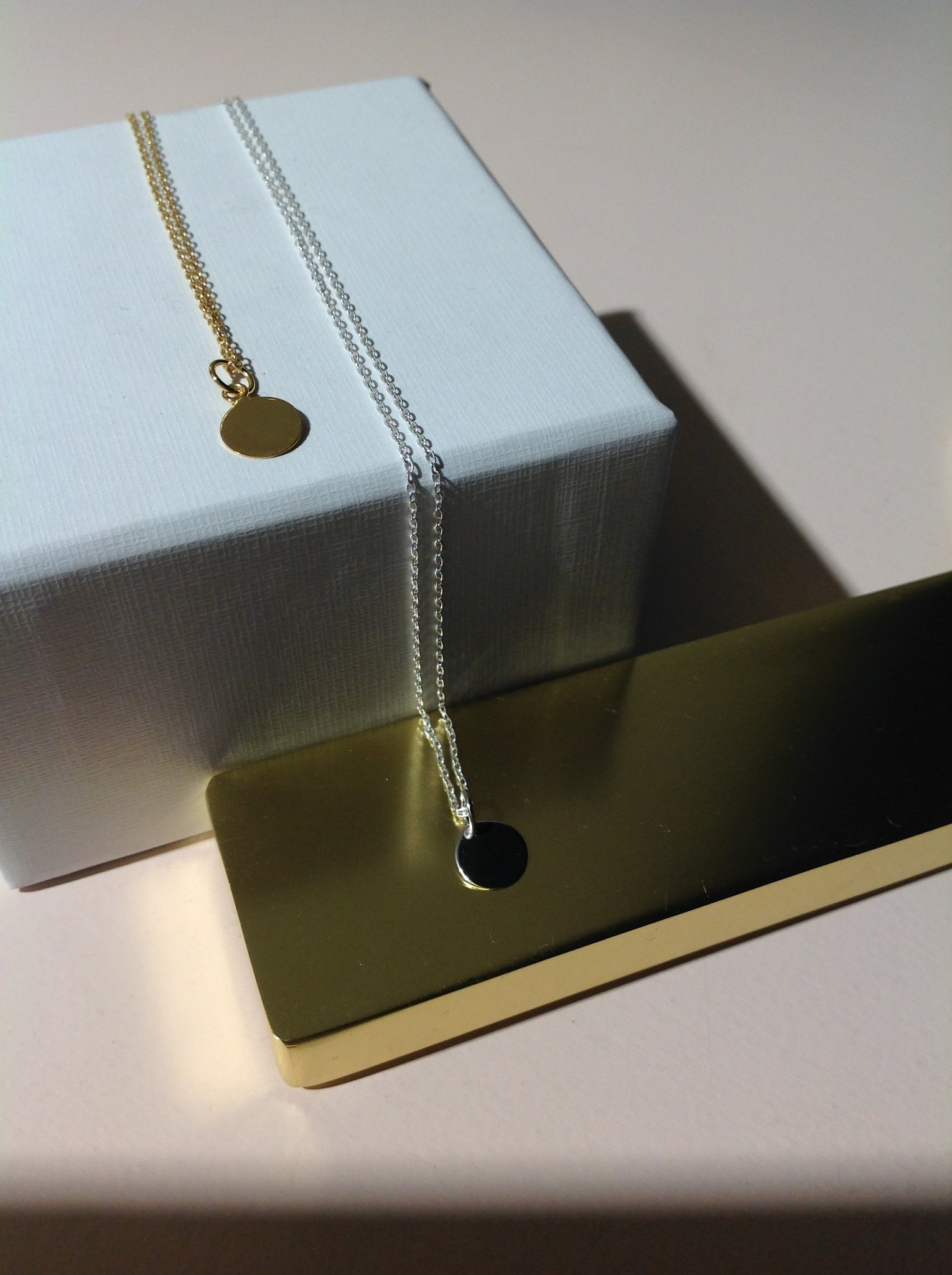 Delicate chain with pendant made of 925 sterling silver - gold-1
