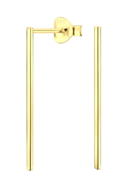Ohrstecker Stab lang aus 925er Sterling Silber 14k vergoldet