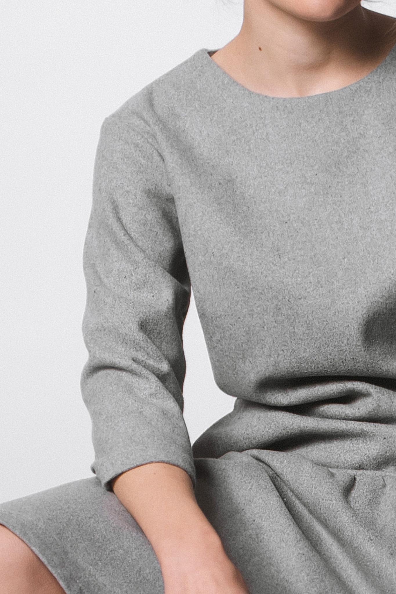 Flared wool blend dress - gray-3