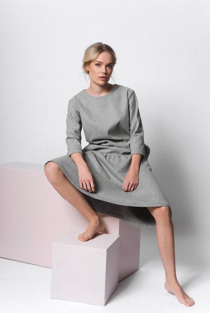 Ausgestelltes Kleid aus Wollmix - Grau