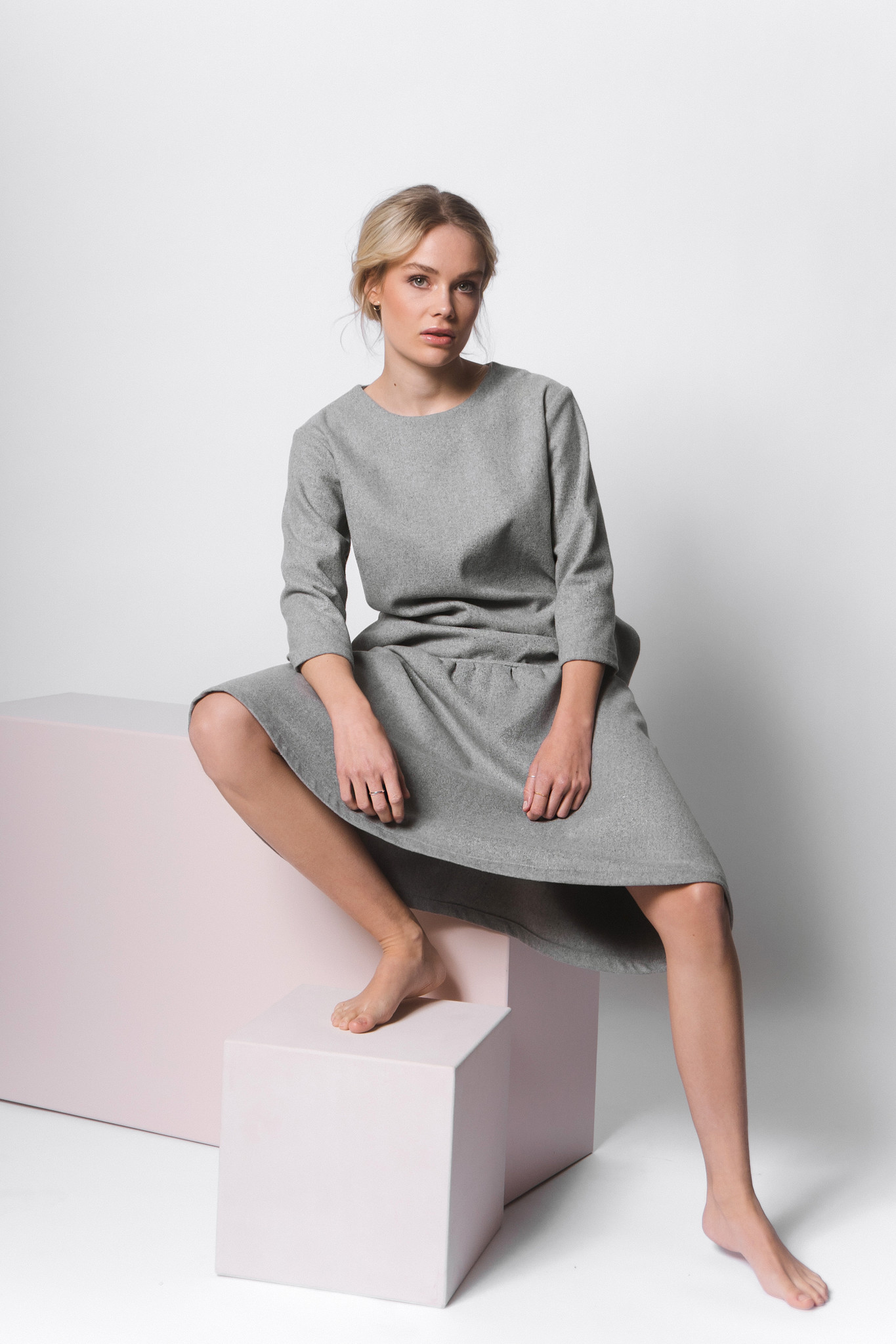 Flared wool blend dress - gray-2