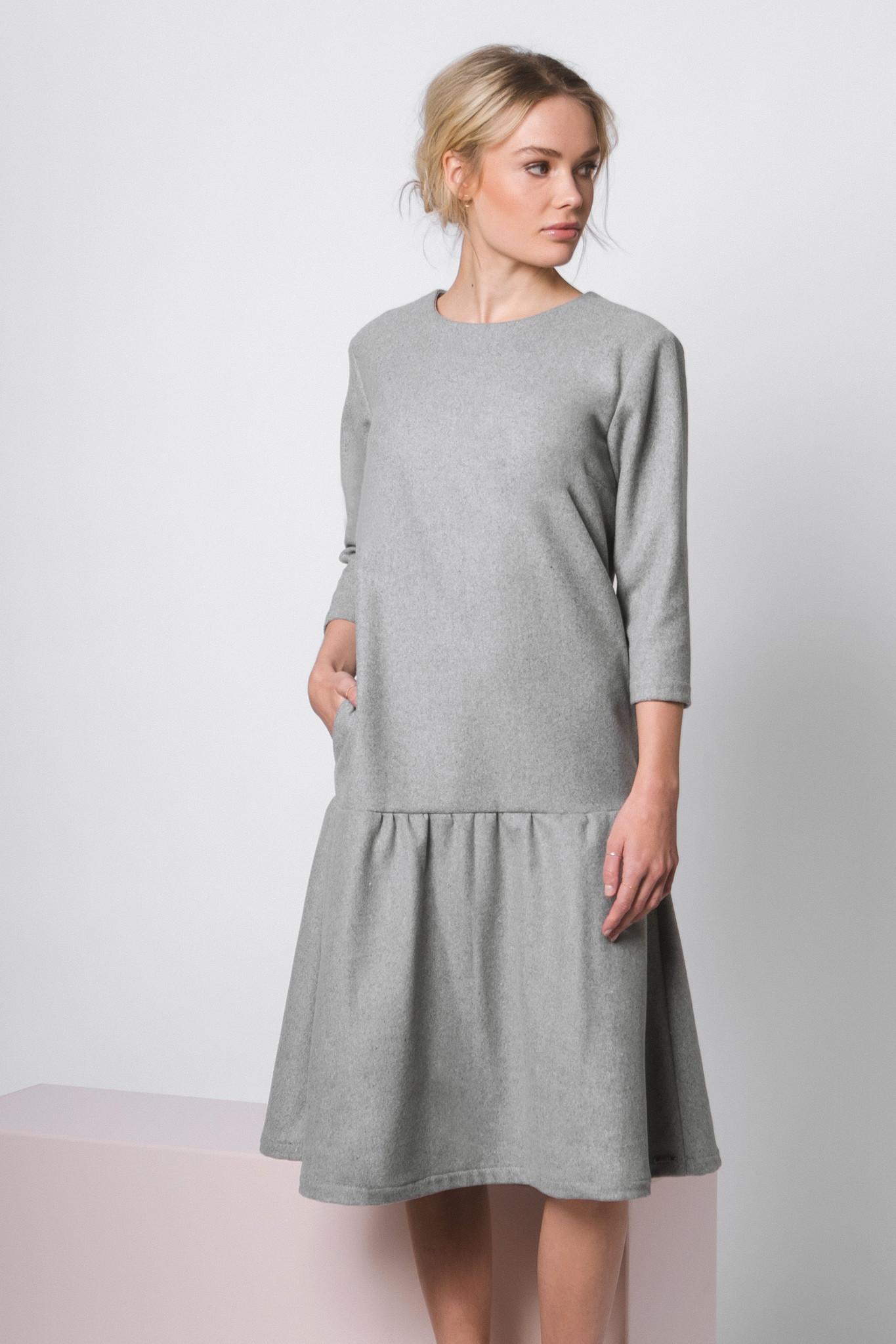 Flared wool blend dress - gray-1