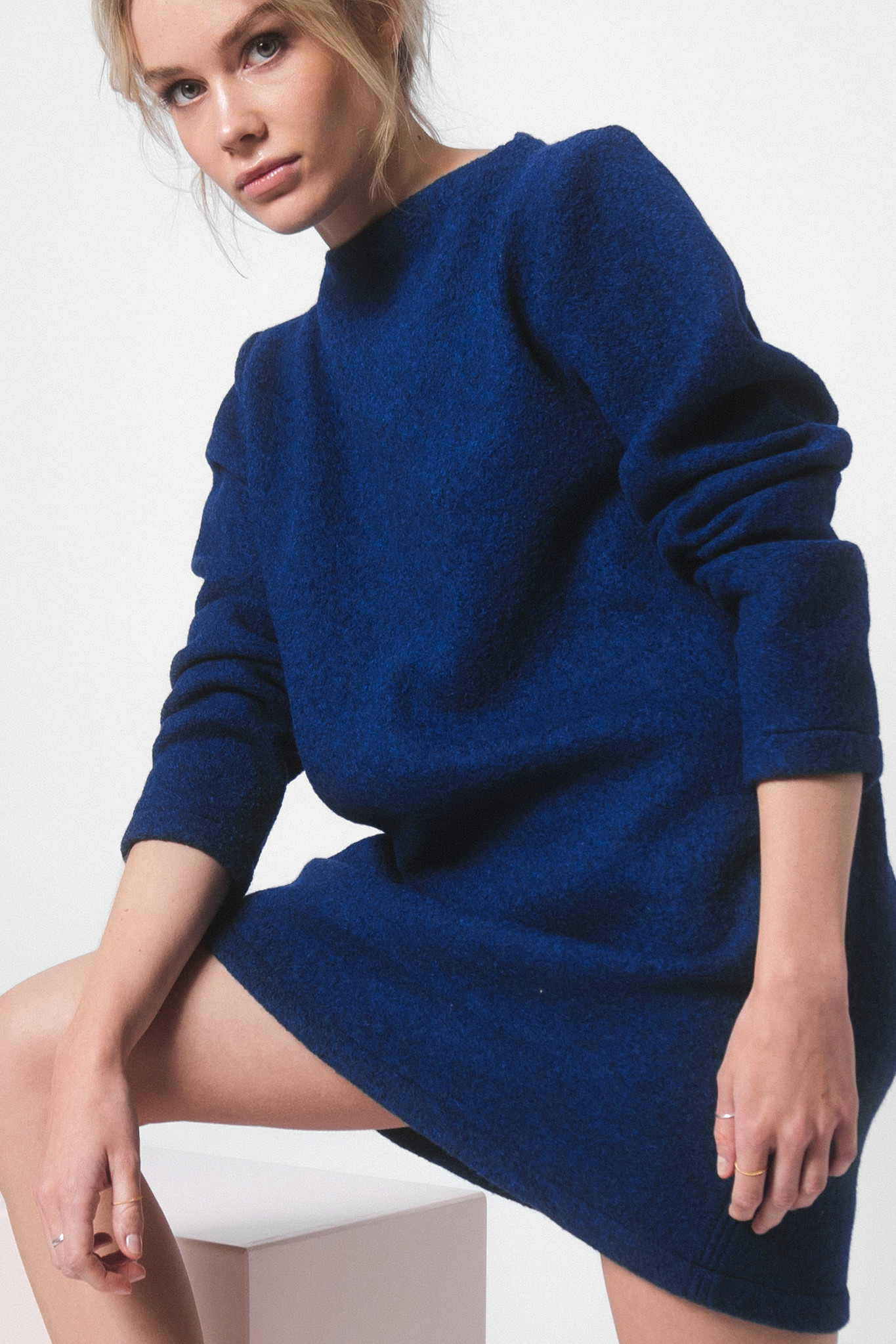 Dress made of pure new wool - blue-1
