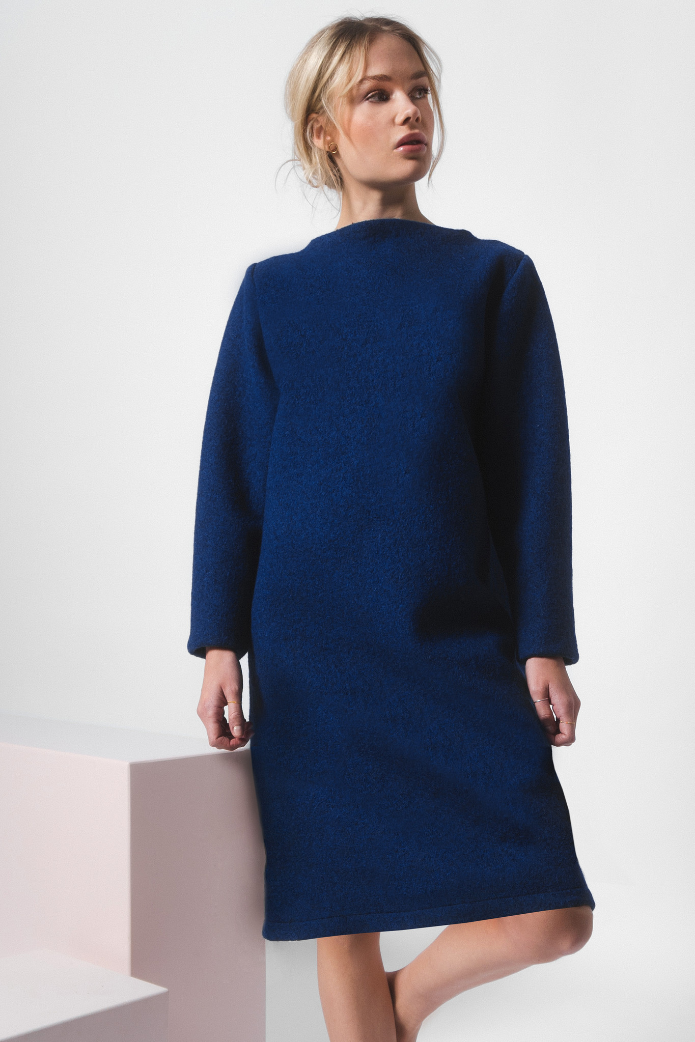Dress made of pure new wool - blue-2