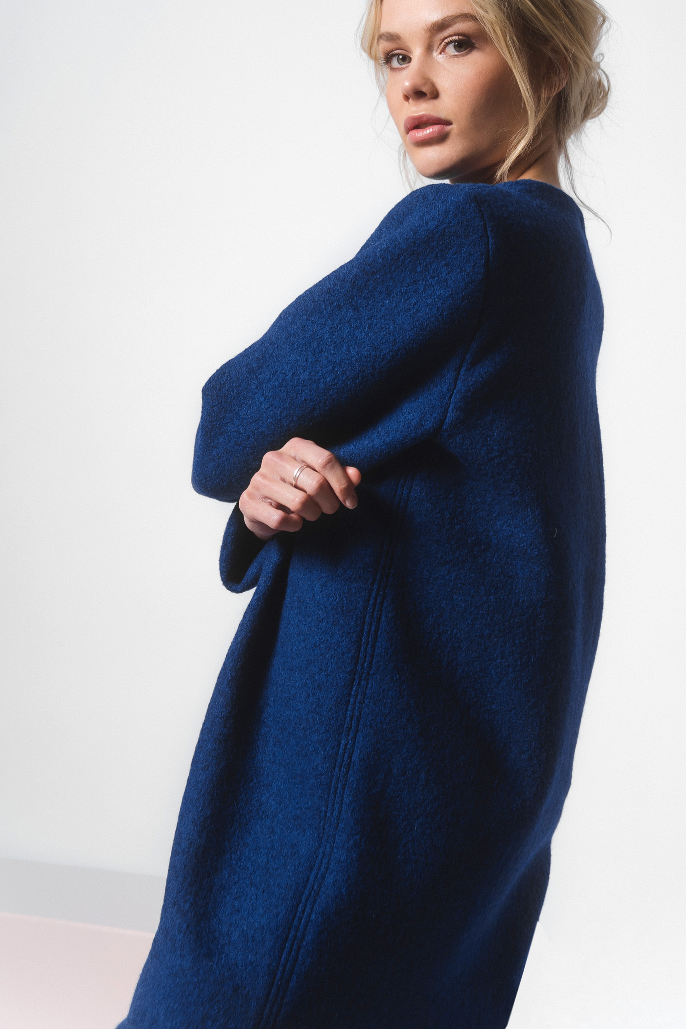 Dress made of pure new wool - blue-3