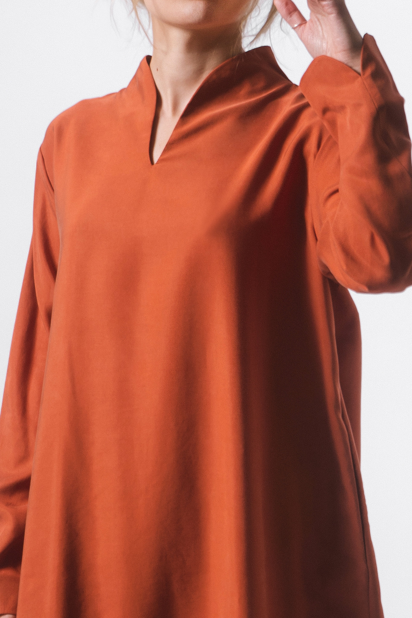Elegant tunic made of Tencel - rust red-3