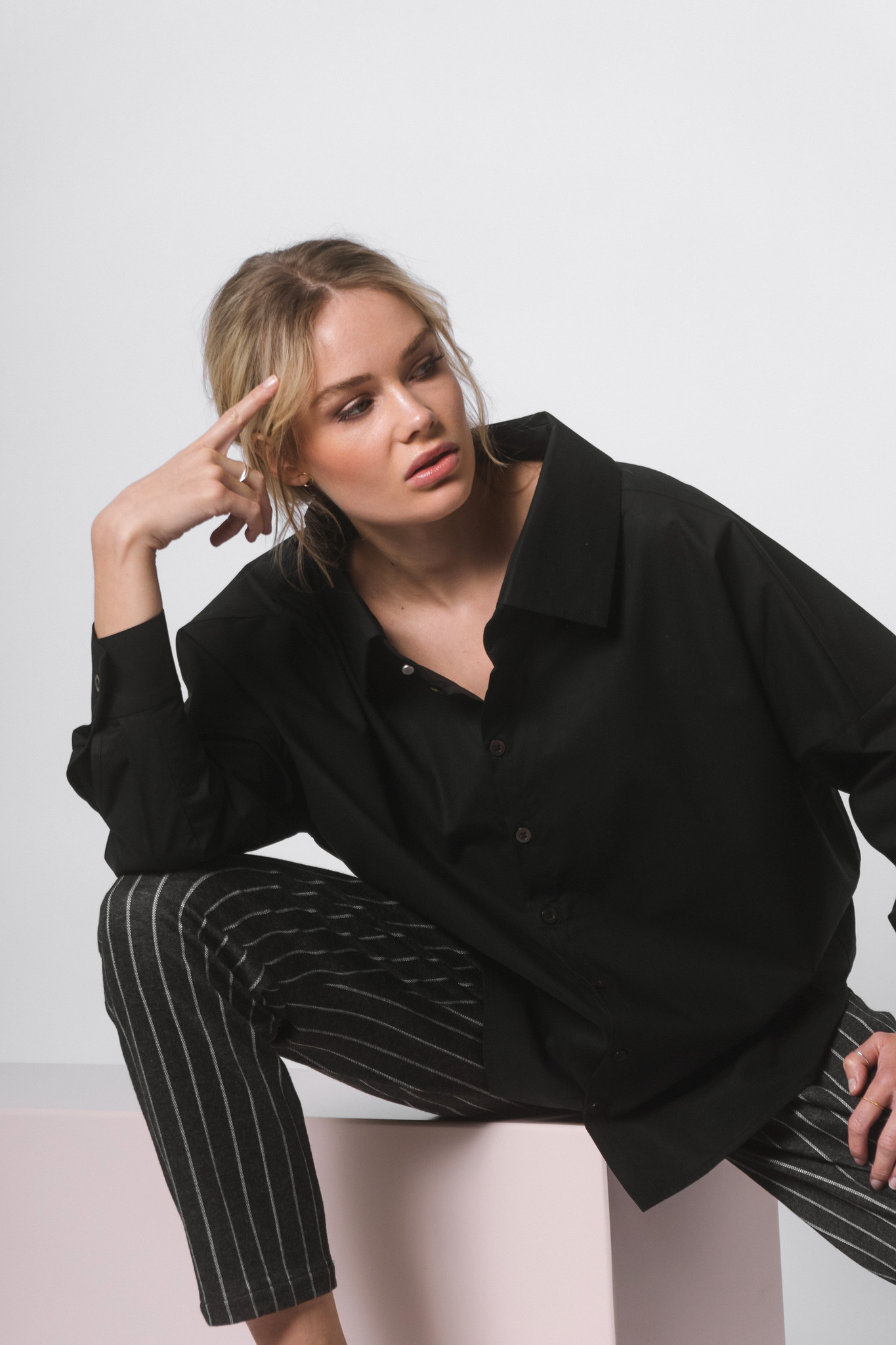 Statement blouse made of organic cotton - black - Copy-1