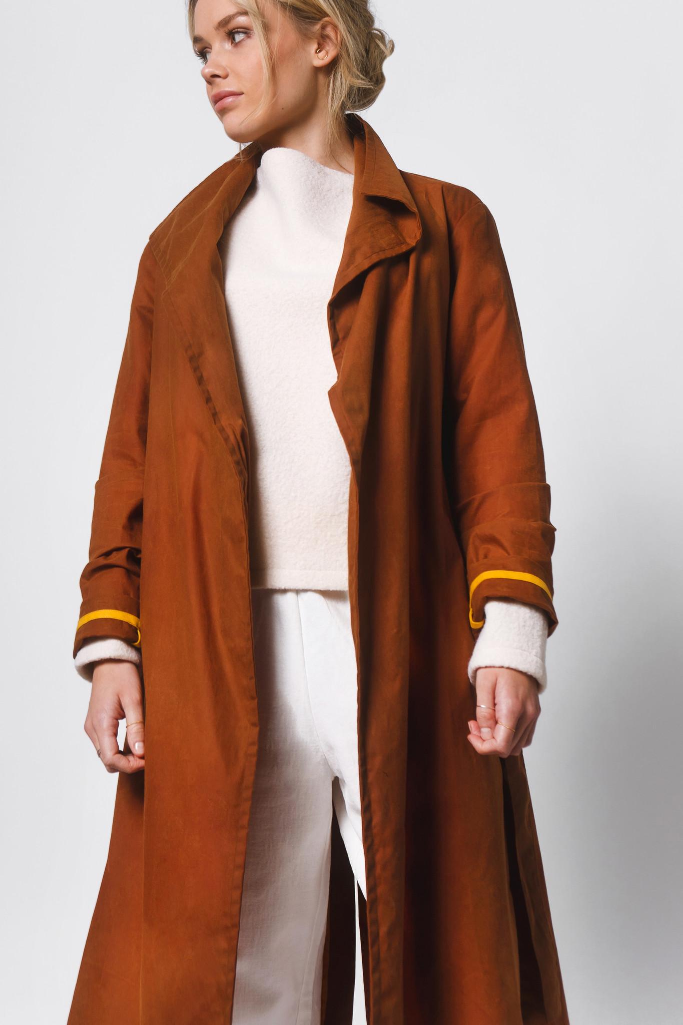 Mantel aus gewachster Bio-Baumwolle- Rostbraun-3