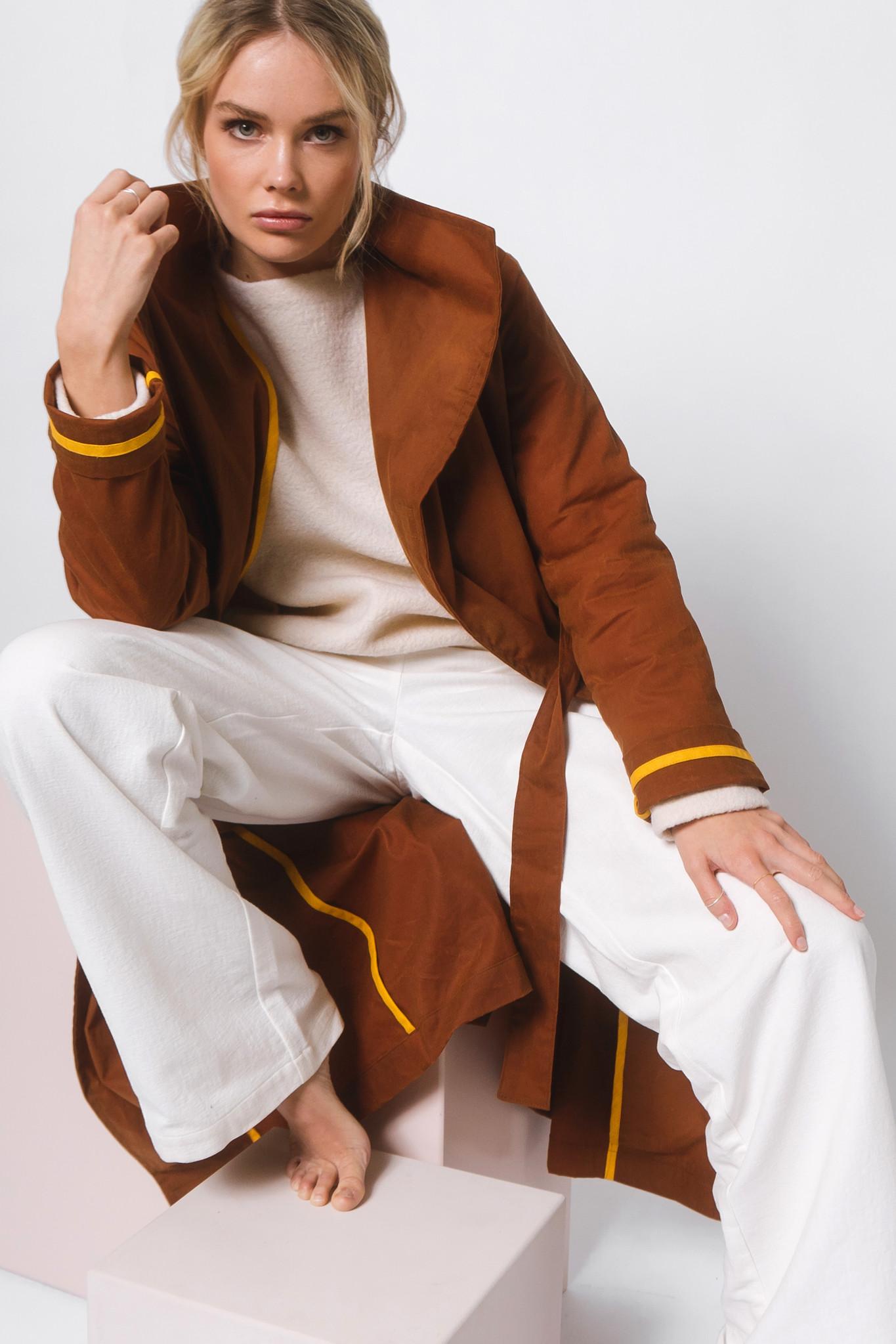 Mantel aus gewachster Bio-Baumwolle- Rostbraun-1