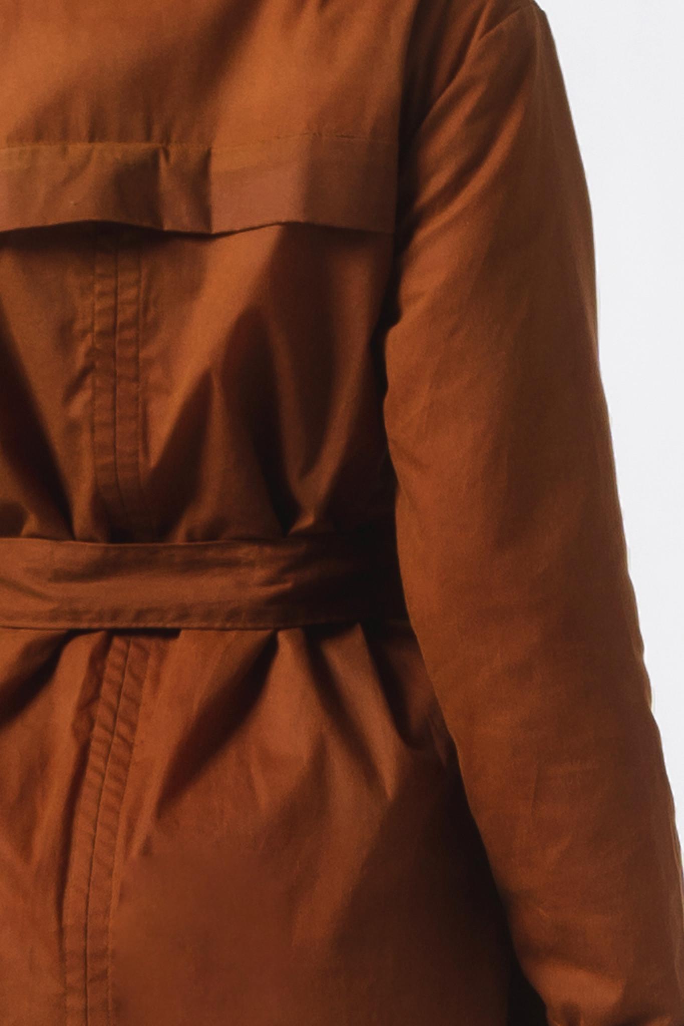 Mantel aus gewachster Bio-Baumwolle- Rostbraun-4