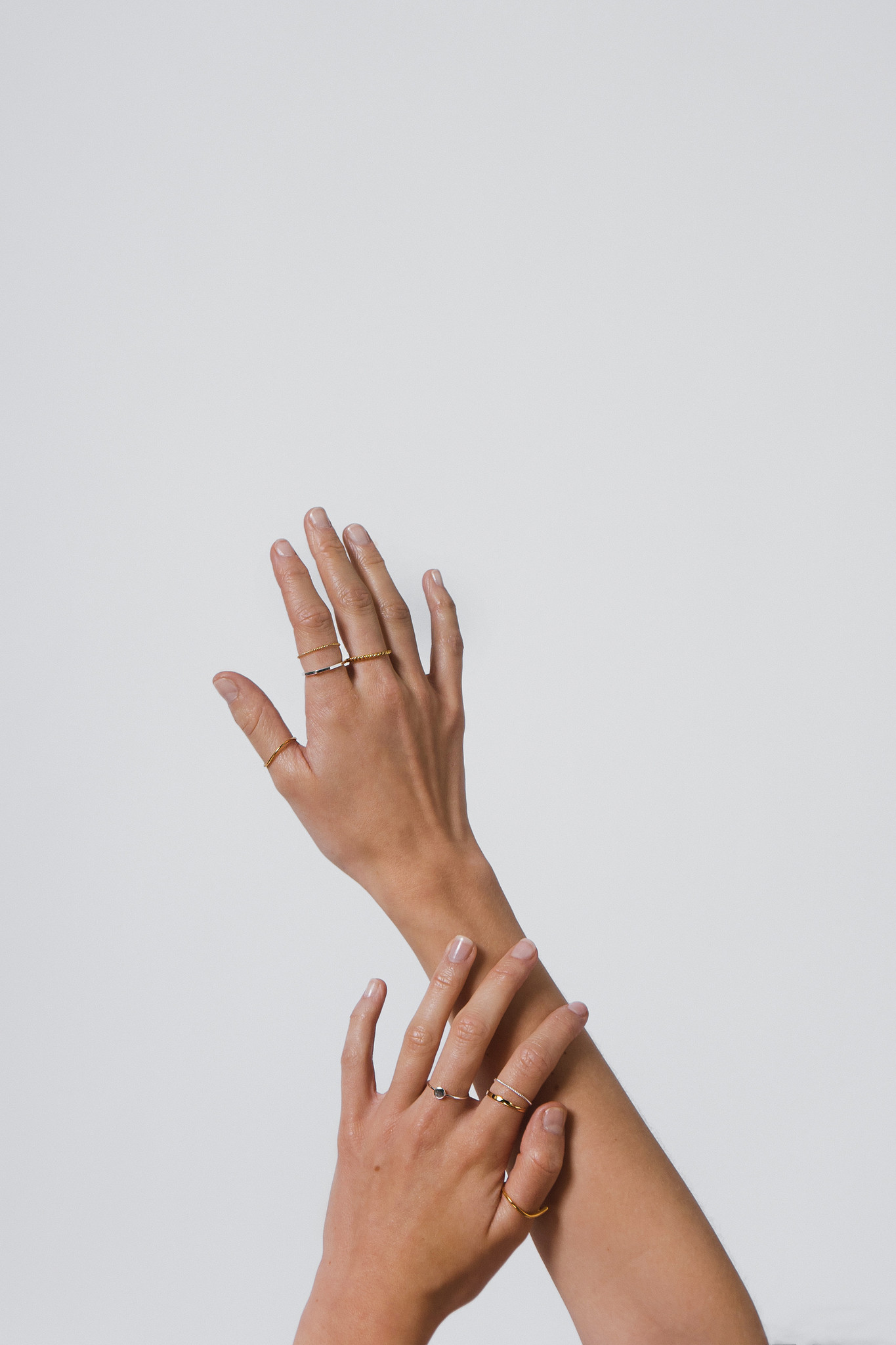 Asymmetric Ring in 925 sterling silver - relined Gold-2