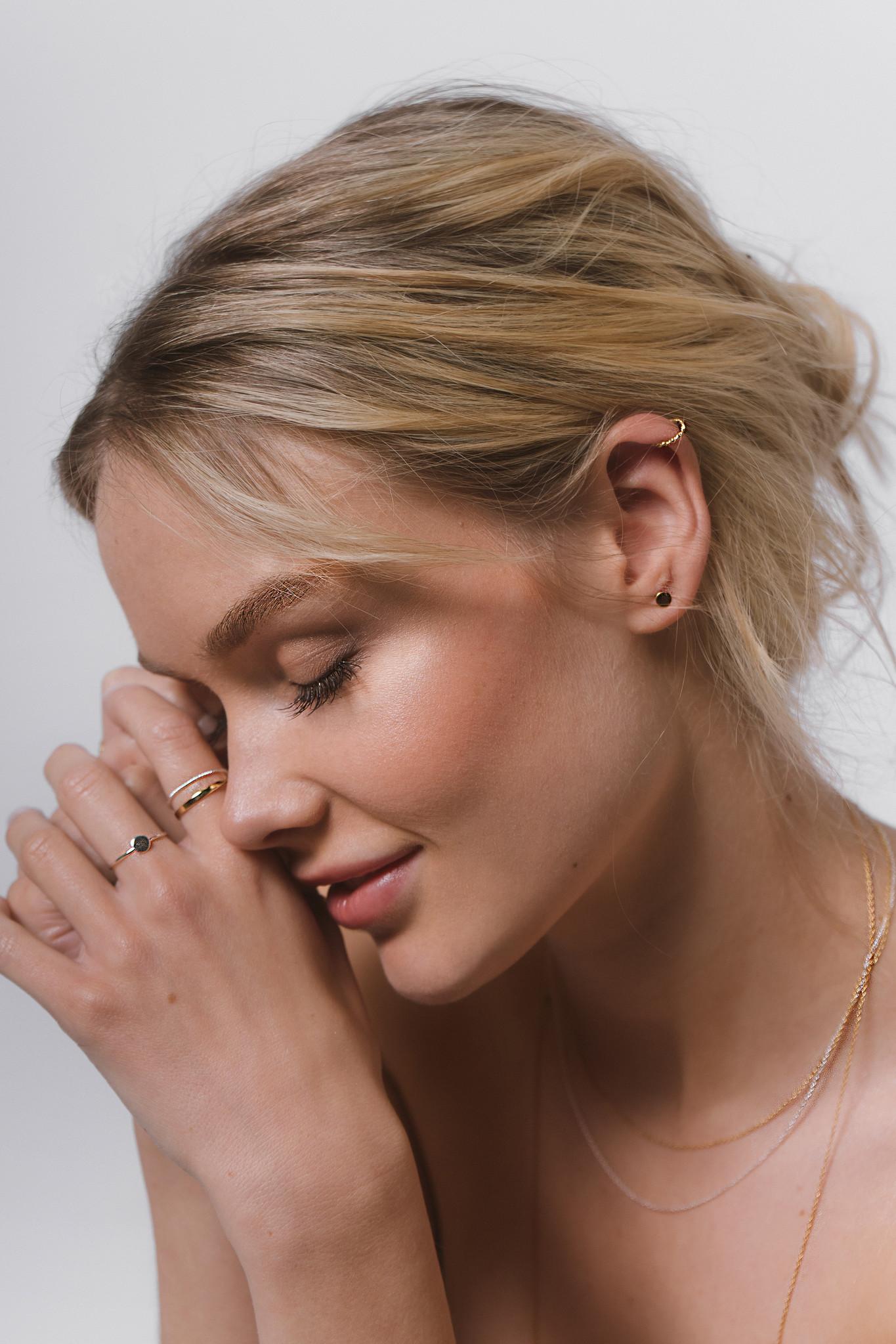 Zarter Ring gedreht - 925er Sterling Silber - Gold-4