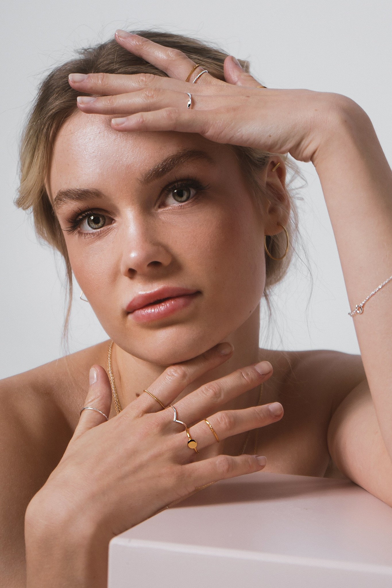 Fein geflochtener Ring aus 925er Sterling Silber - Gold-9