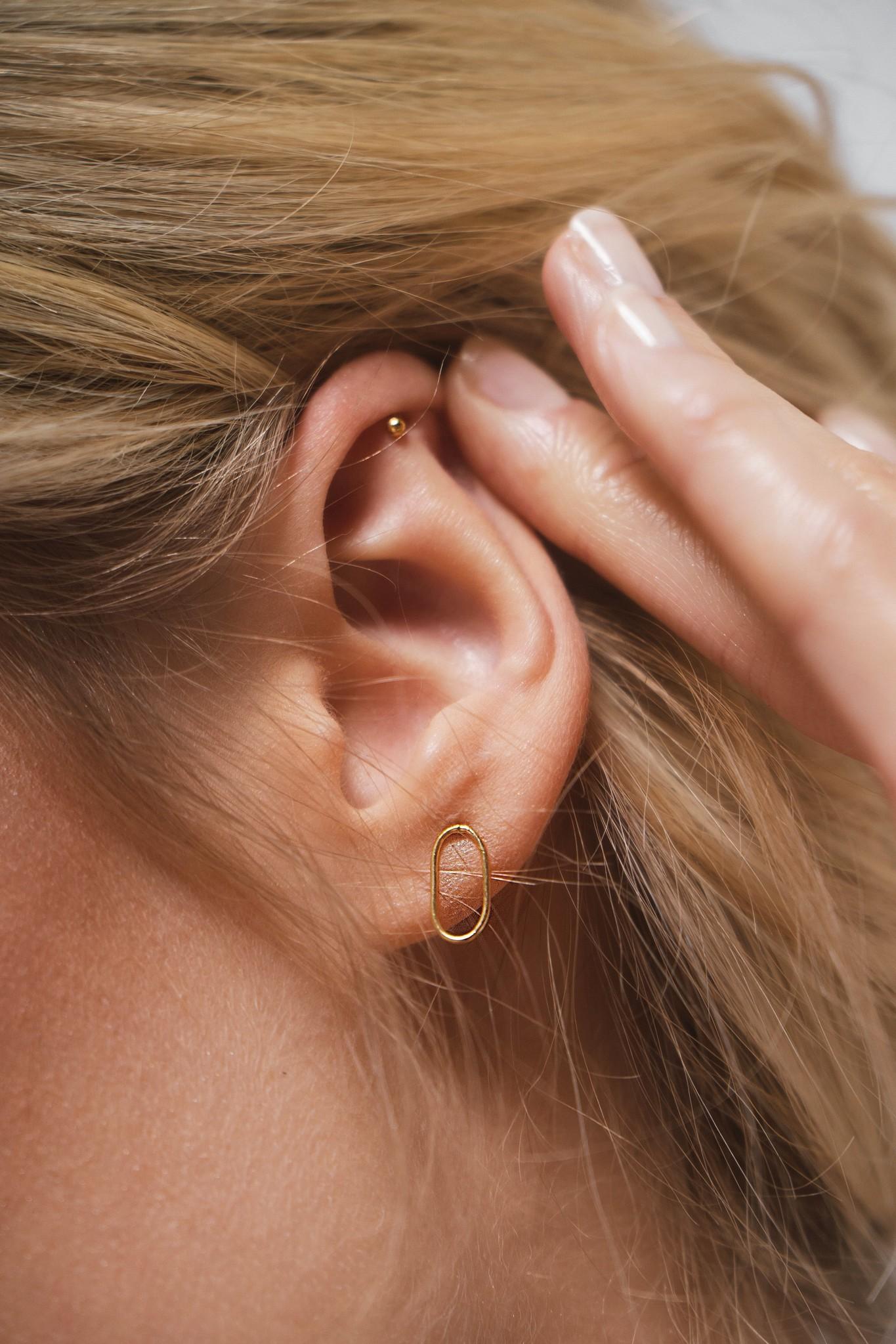 Fine Ear Studs Oval - 925 Sterling Silver - Gold-2