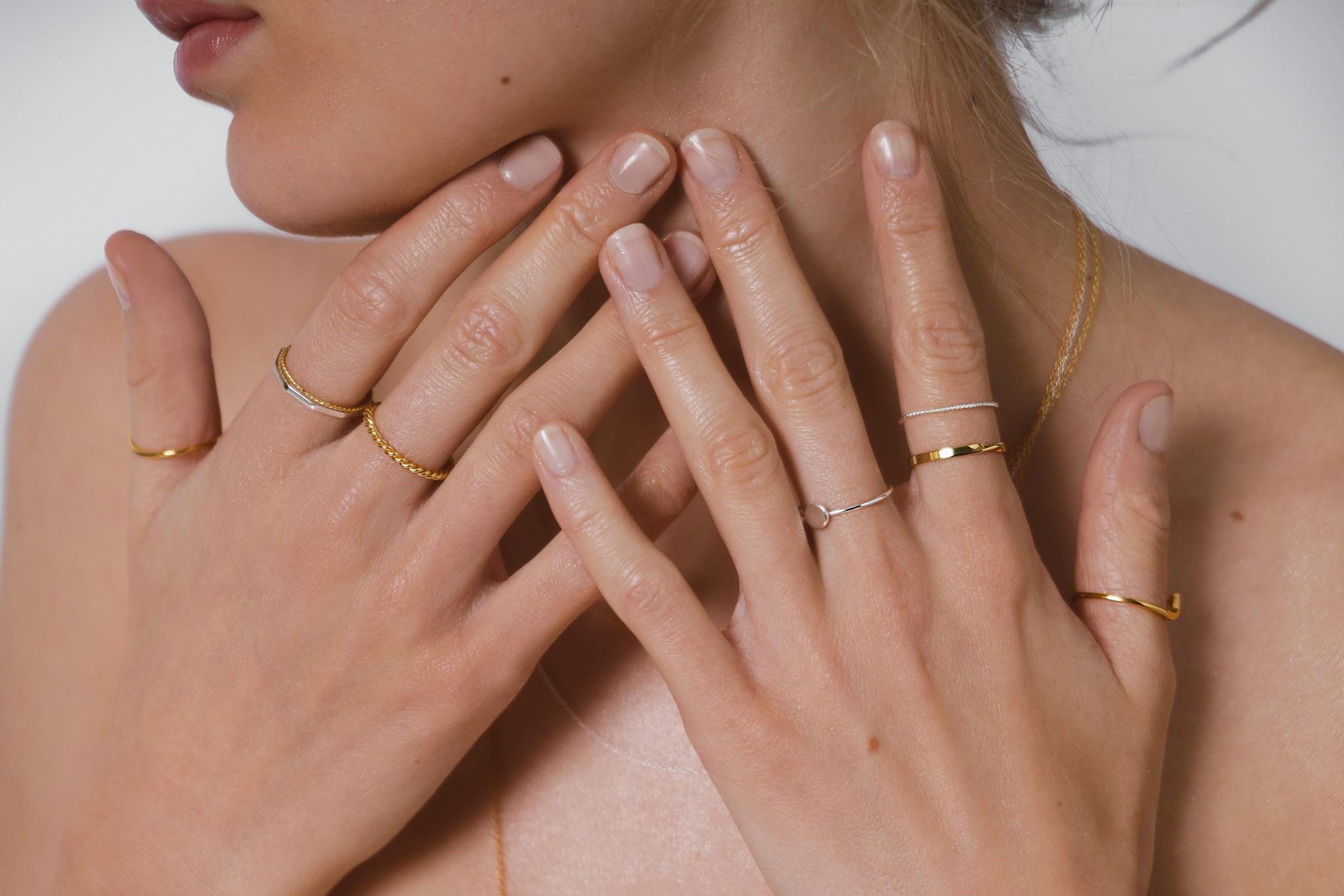 Zarter Ring gedreht - 925er Sterling Silber - Gold-10
