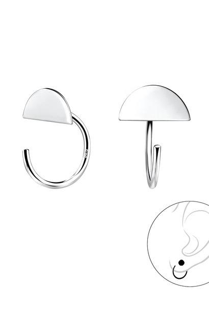 Small semi-circle hoop earrings - 925 sterling silver