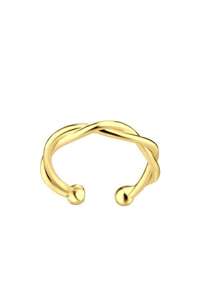 Kleiner Ohrclip geflochten - 925er Sterling Silber - Gold