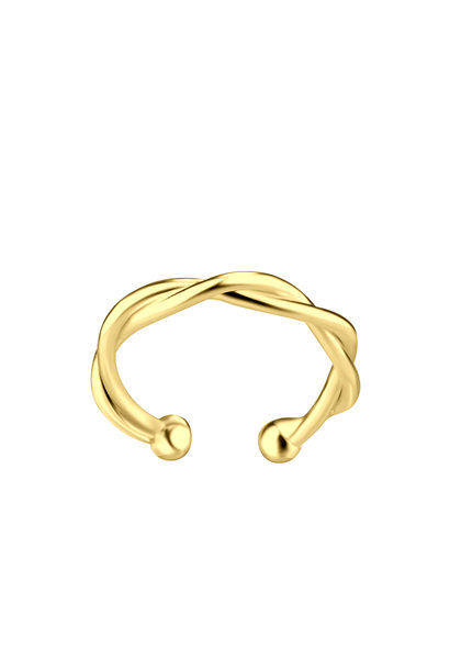 Small braided ear clip - 925 sterling silver - gold