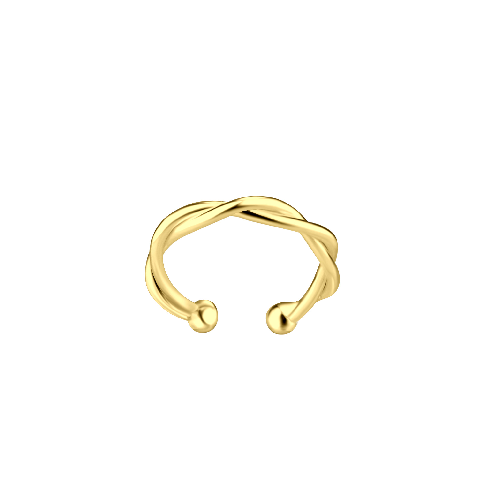 Small braided ear clip - 925 sterling silver - gold-1