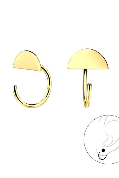Small hoop earrings with semicircle - 925 sterling silver - gold