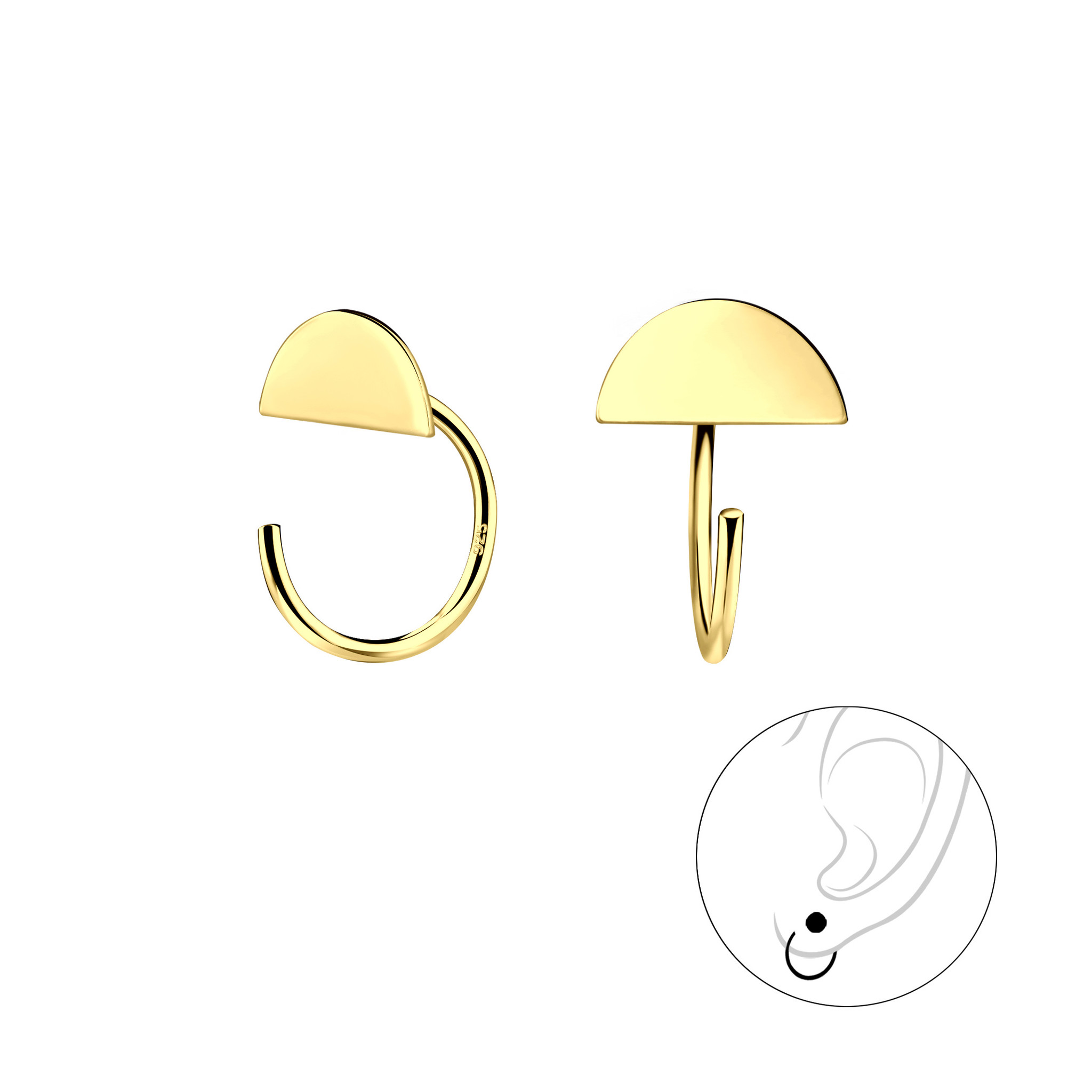 Small hoop earrings with semicircle - 925 sterling silver - gold-1