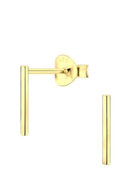 Zarter Ohrstecker Stab aus 925er Sterling Silber - Gold - 8mm
