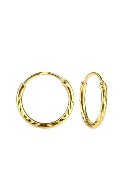 Small Hoop Earrings faceted- 925 Sterling Silver - Gold