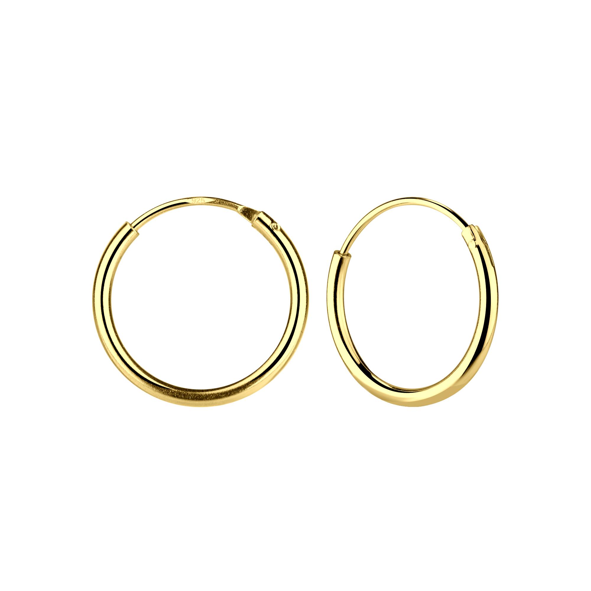 Kleine Creolen Ohrringe (12mm)- 925er Sterling Silber - Gold-1