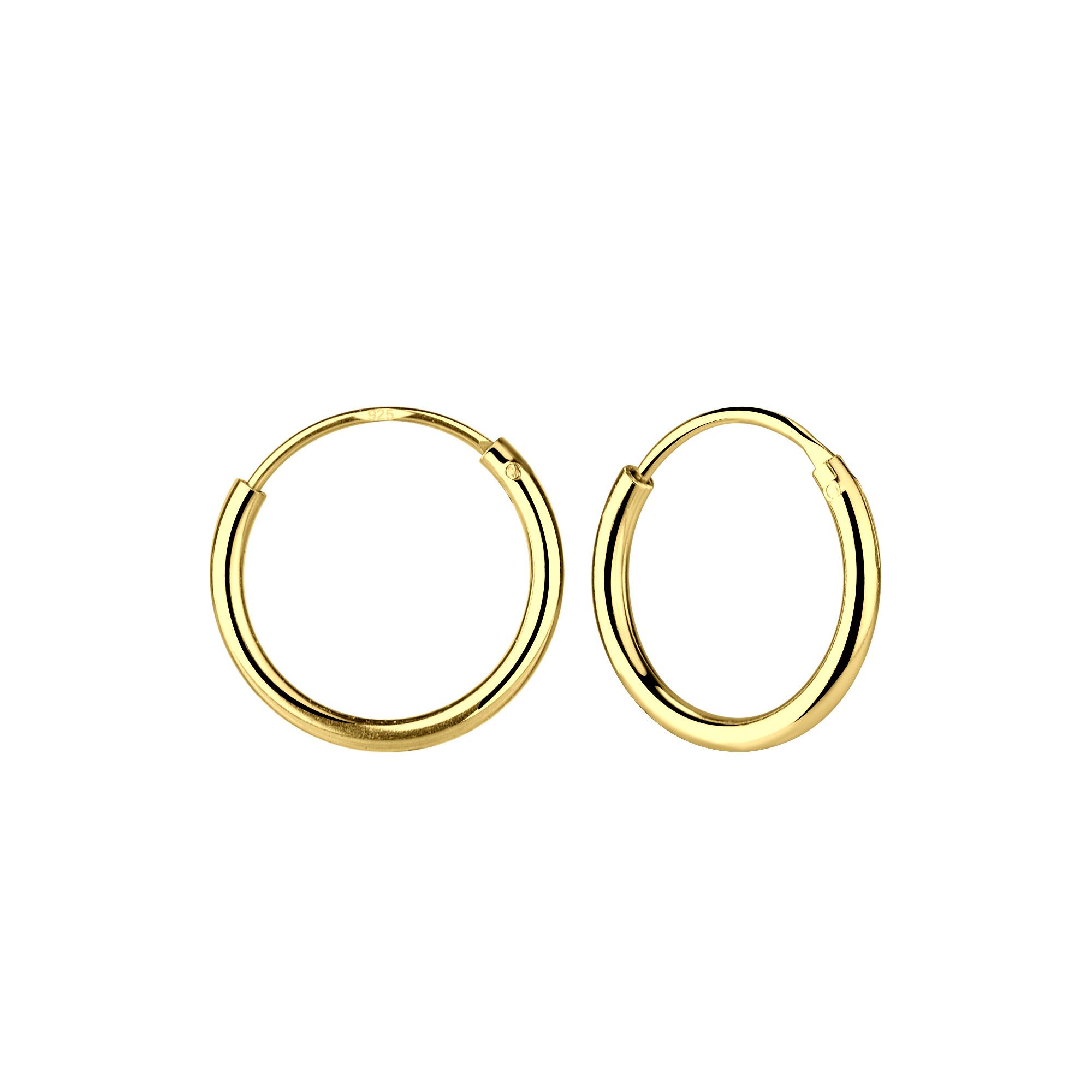 Small Hoop Earrings (10mm) - 925 Sterling Silver - Gold-1