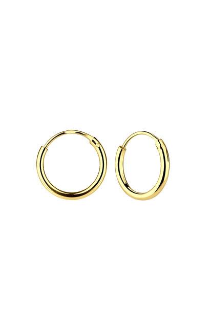 Small Hoop Earrings (8mm) - 925 Sterling Silver - Gold