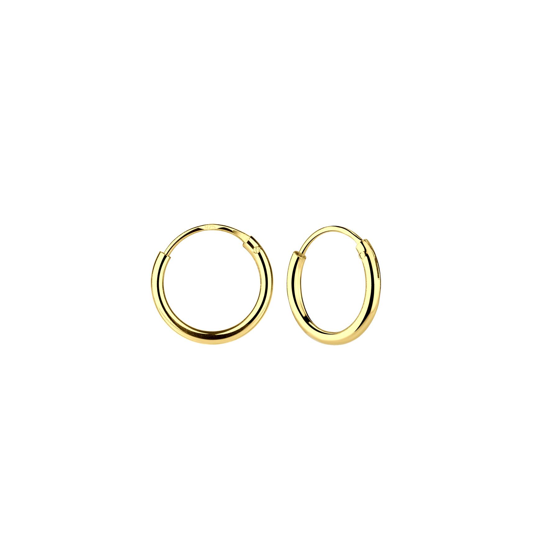 Kleine Creolen Ohrringe (8mm)- 925er Sterling Silber - Gold-1