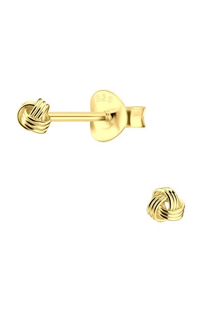 Zarter Ohrstecker Knoten aus 925er Sterling Silber - Gold