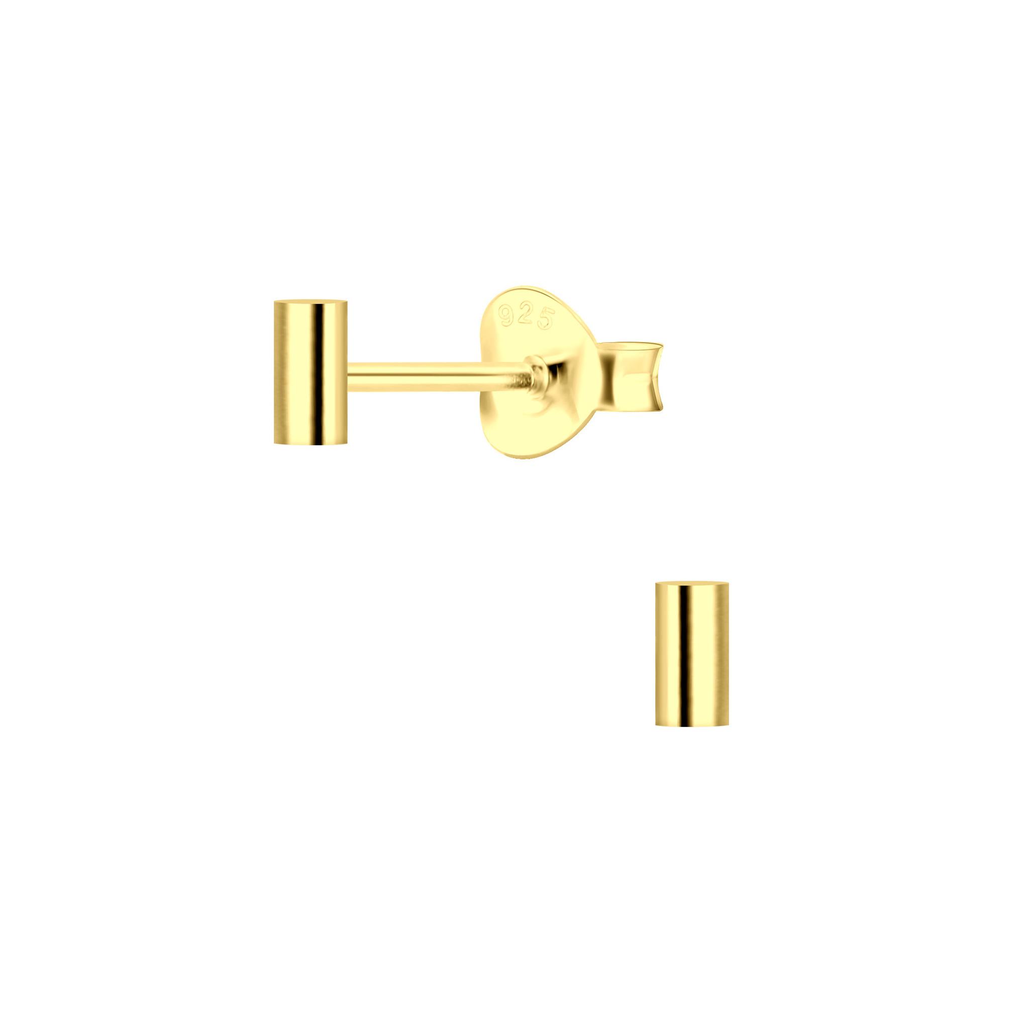 Zarter Ohrstecker Riegel aus 925er Sterling Silber 14k vergoldet-1