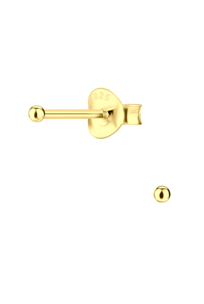 Puristic ball stud earrings made of 925 sterling silver gold