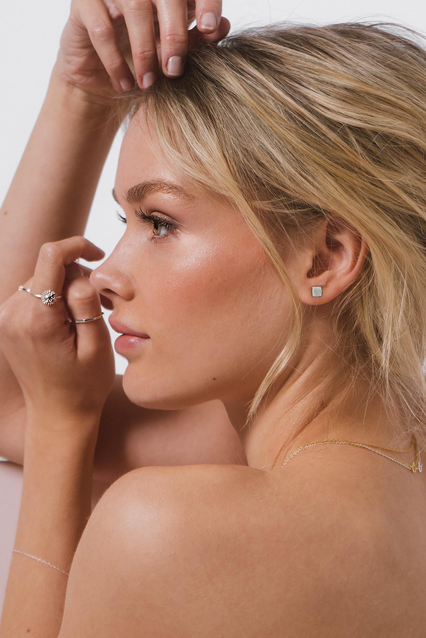Fine square stud earrings - 925 sterling silver-2