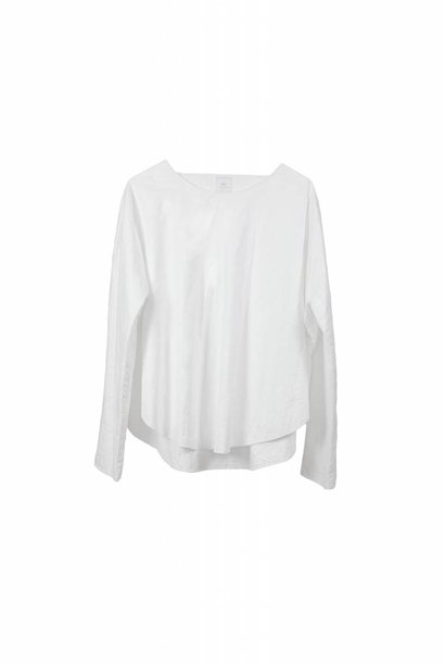 Shirt with round hem in organic cotton white