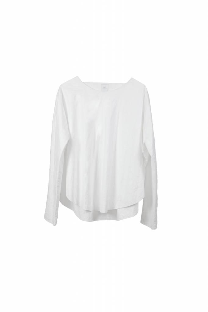 Shirt mit rundem Saum aus Bio-Baumwolle weiß-1