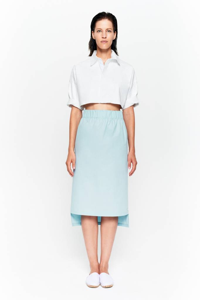 Skirt with seam detail in organic cotton white-3