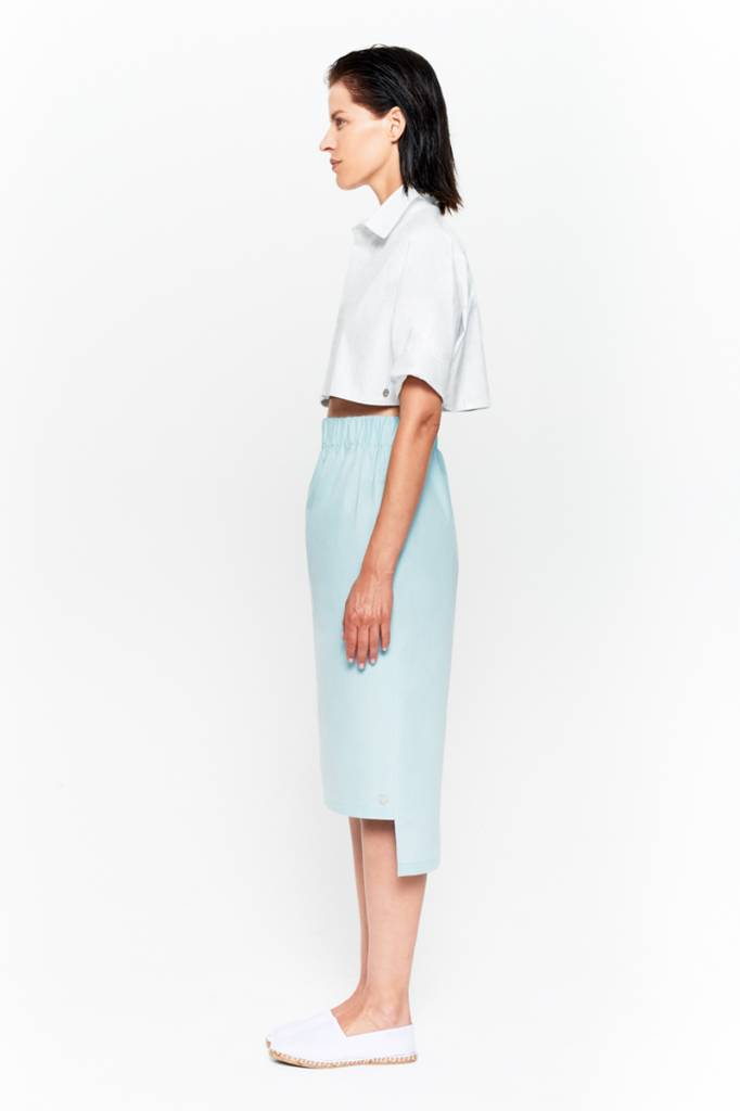 Skirt with seam detail in organic cotton white-4