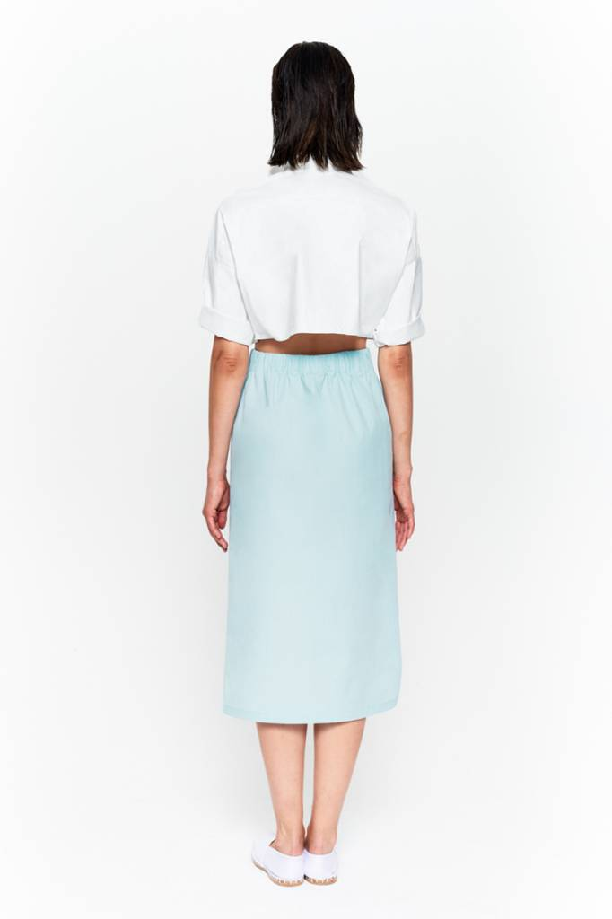Skirt with seam detail in organic cotton white-5
