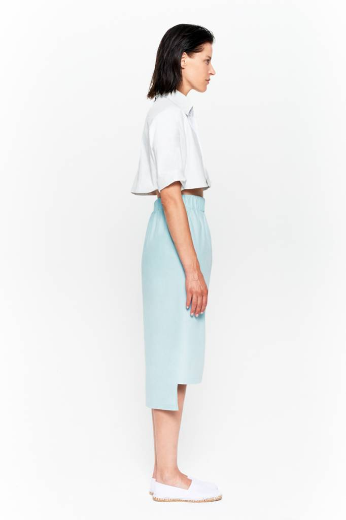 Skirt with seam detail in organic cotton white-6